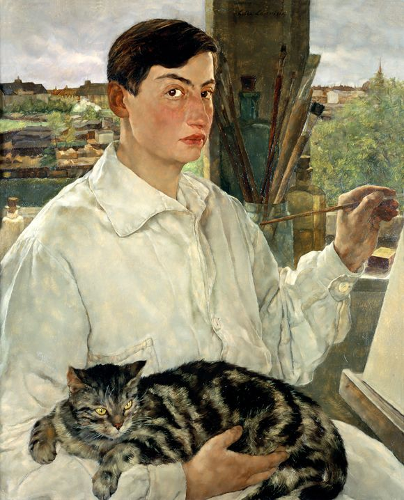 Lotte Laserstein, Selbstporträt mit Katze, 1928